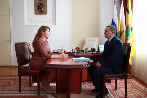 Юлия Рокотянская провела рабочую встречу с главным федеральным инспектором по Рязанской области